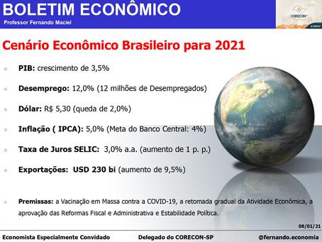 Boletim Econômico: Cenário Econômico Brasileiro para 2021, por Professor Fernando Maciel