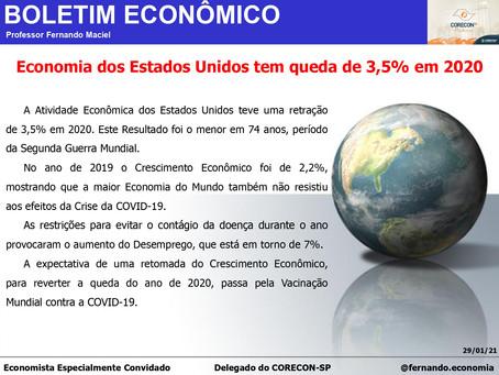 Boletim Econômico: Economia dos Estados Unidos tem queda de 3,5% em 2020, por Fernando Maciel
