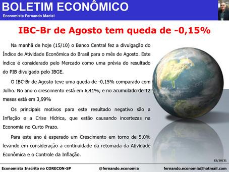 Boletim Econômico: IBC - Br de Agosto tem queda de -0,15%, por Fernando Maciel.