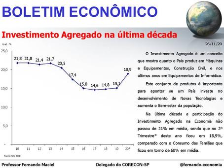 Boletim Econômico – Investimento agregado na última década, por Fernando Maciel