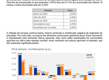 Nota Econômica Semanal - Inflação - IPCA Agosto 2020 por Carlos Eduardo Junior