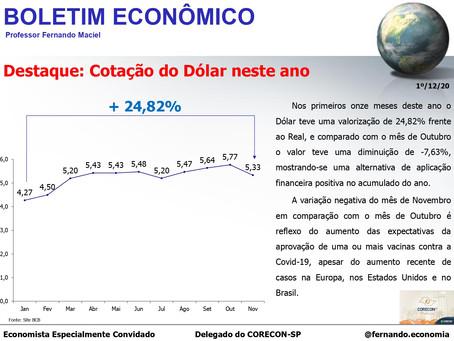 Boletim Econômico – cotação do dólar neste ano, por Fernando Maciel