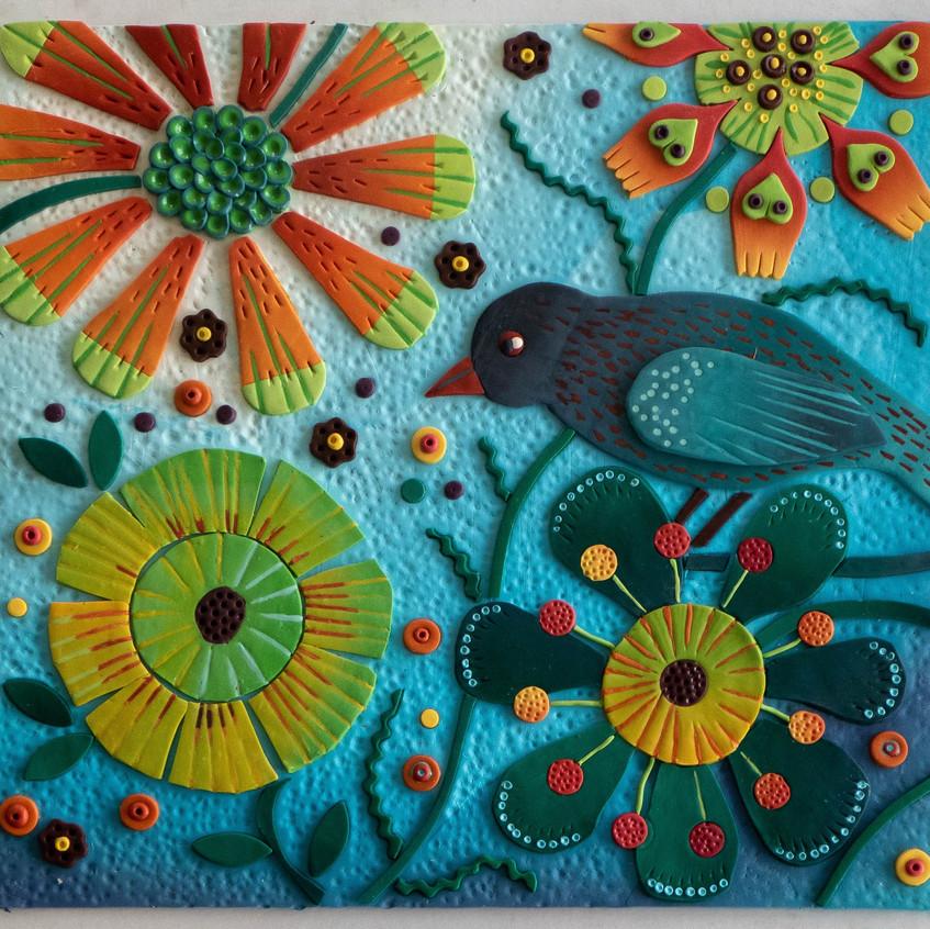 bird and sunflower by Bridget