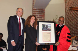 Receiving the Shoes of Justice Award