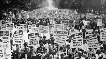 A crowd of civil rights marchers