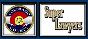 "A symbol for the Colorado Courts and the logo for ""Super Lawyers"""