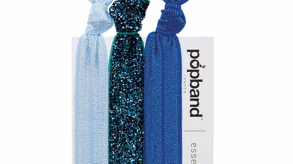 Popbands - Essential 3 pack Hair Ties - Glitterball Blue