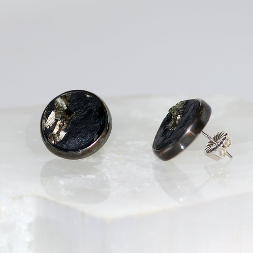 Large Pyrite and Slate Stud Earrings