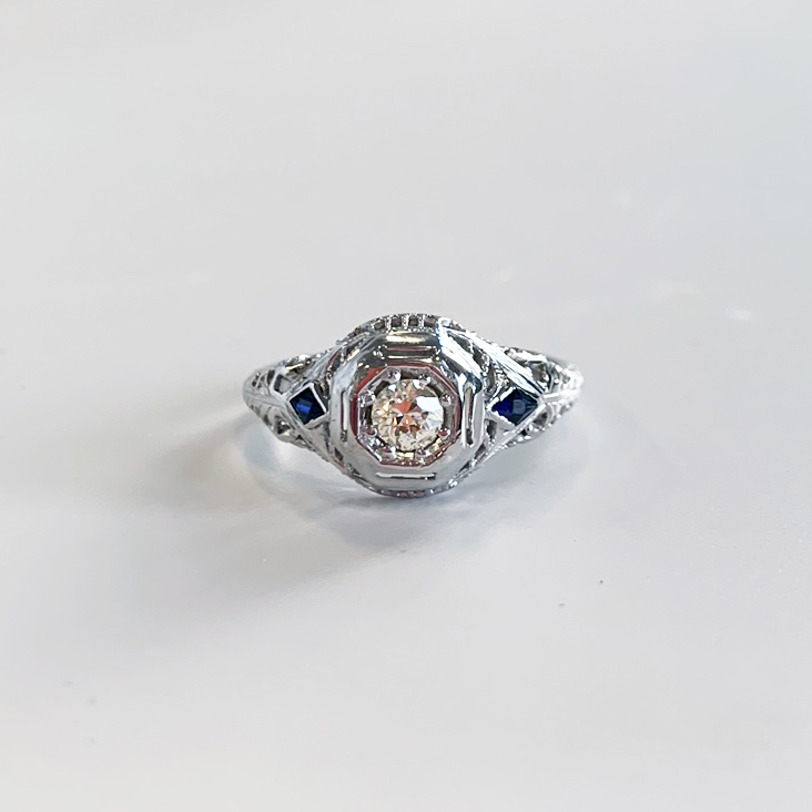 antique sapphire engagement ring_front