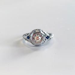 antique sapphire engagement ring_front