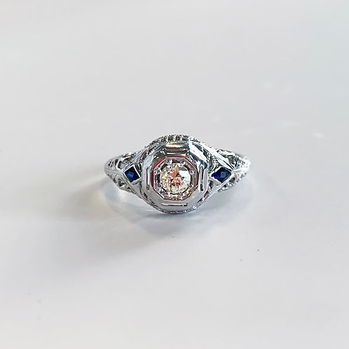 18k Antique Art Deco Engagement Ring with Sapphires