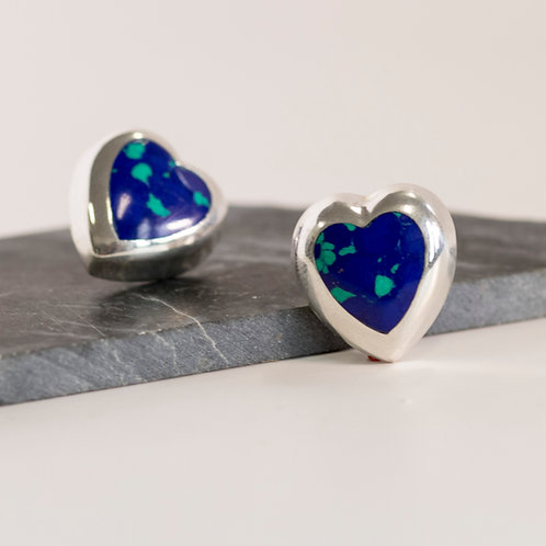 Vintage Azurite Sterling Silver Post Earrings