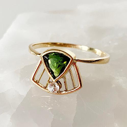 Art Deco Tourmaline & Diamond Ring