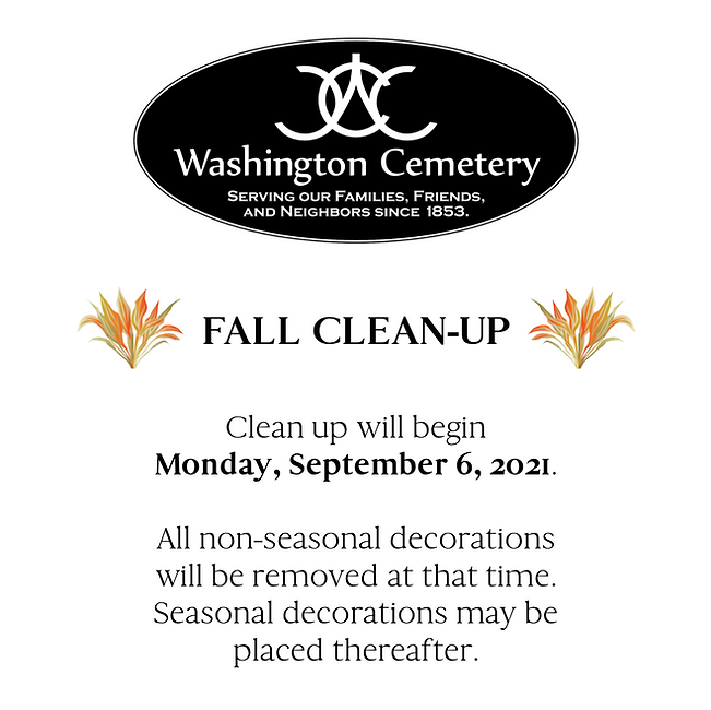 2021 Fall Clean-Up Schedule.