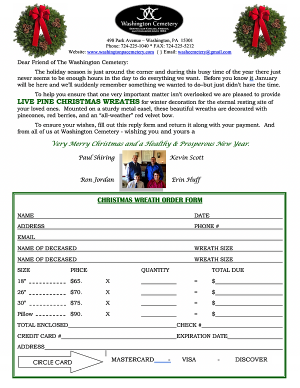 Washington Cemetery - Live Pine Christma