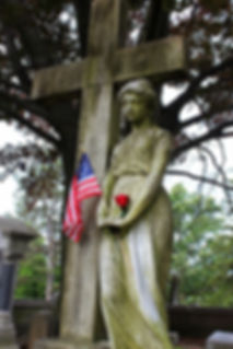 Beautiful vintage statue and monument in the Historic Section of Washington Cemetery near Hanna Circle.