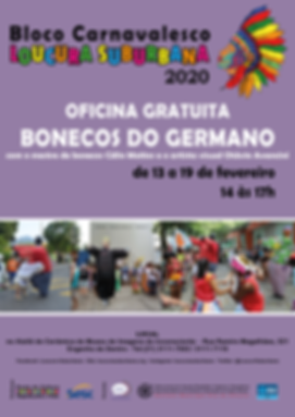 CARTAZ OFICINA BONECOS DO GERMANO com ar