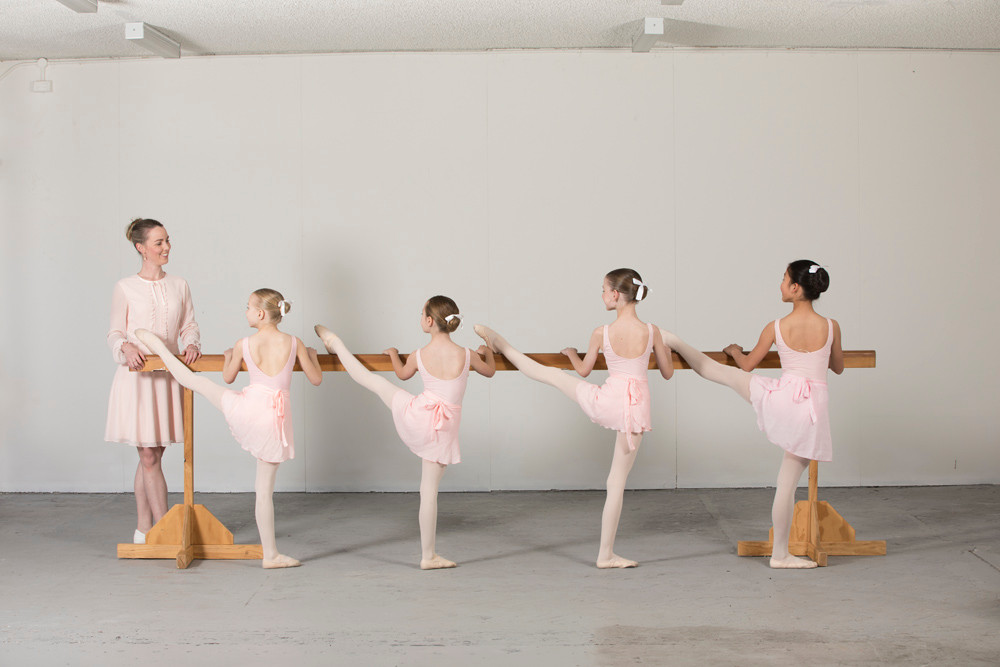 junior and intermediate ballet students with Director Zara Bartley