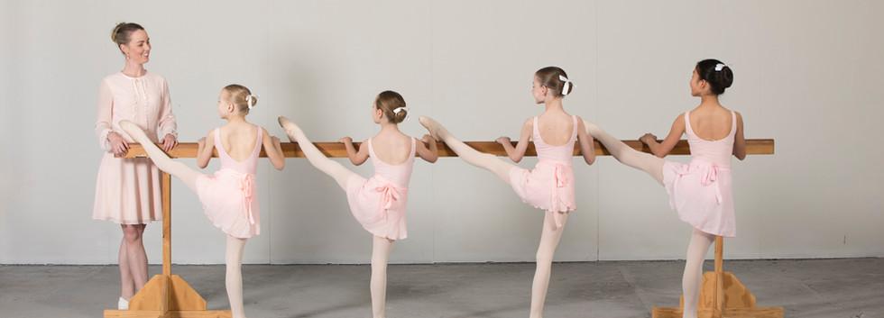 junior and intermediate ballet students with Director Zara Bartley