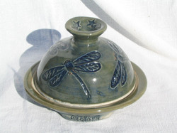 Dragonfly butter dish