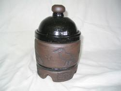 Raven lidded jar