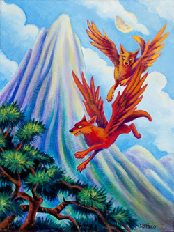 Winged Wolves over Sky Mountain