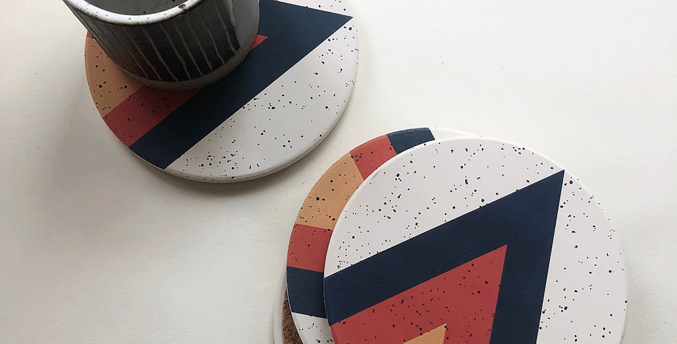 Graphic Stone Coasters Set/4