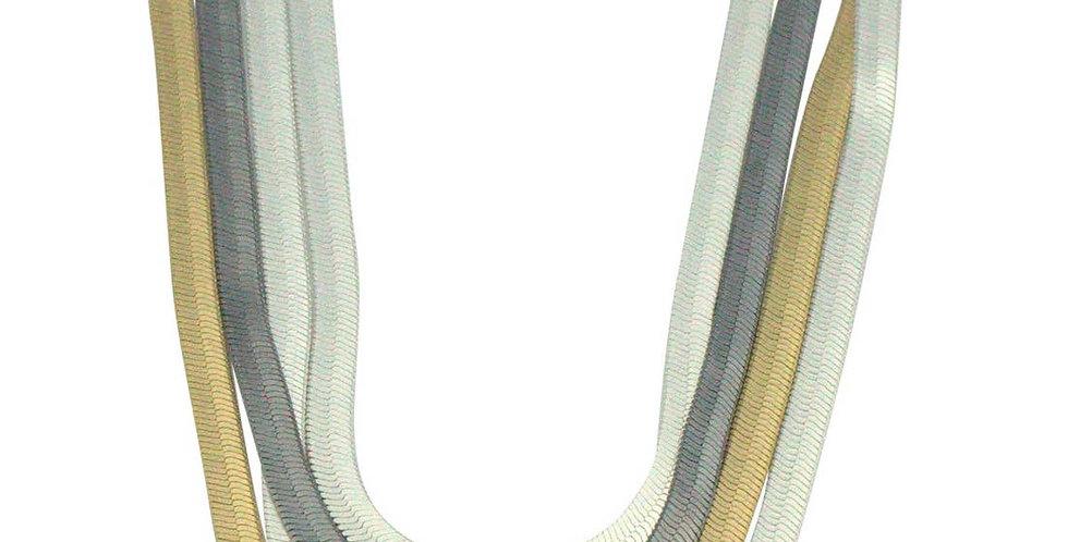 Tri-Color Herringbone Necklace