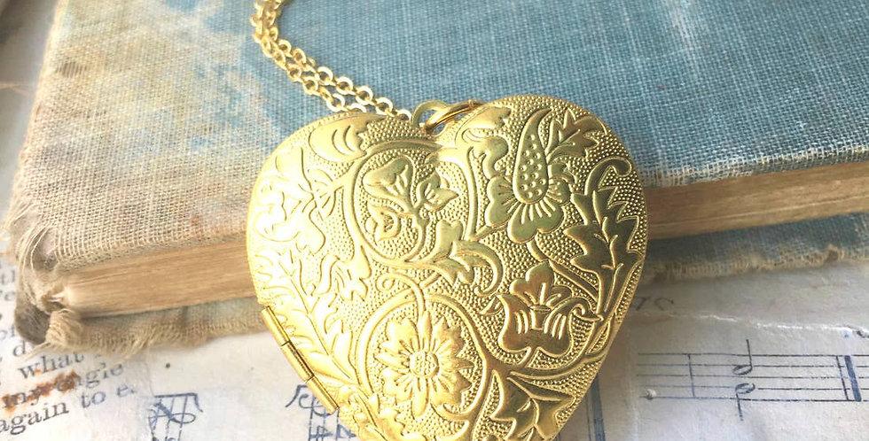 Golden Scroll Locket