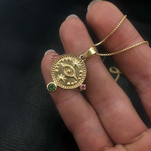 Protect Your Energy Pendent, Yellow Gold