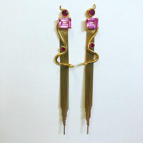Snake Charmer Earrings Gold Dipped