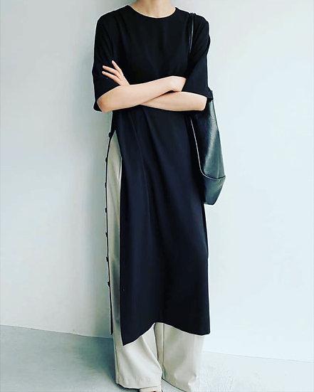 單側排釦洋裝