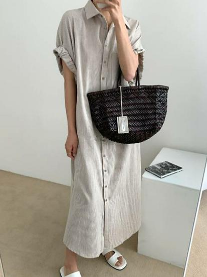米麩色短袖長版襯衫外罩