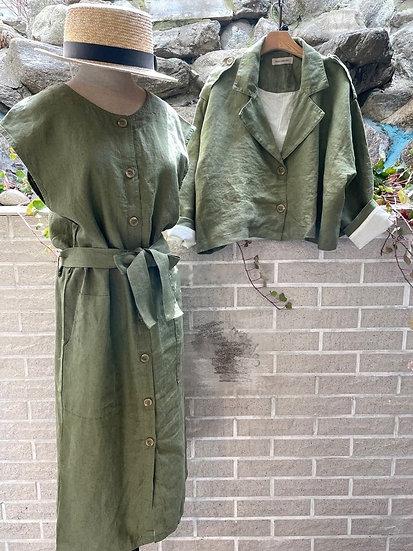 高質量棉麻無袖連身裙裝