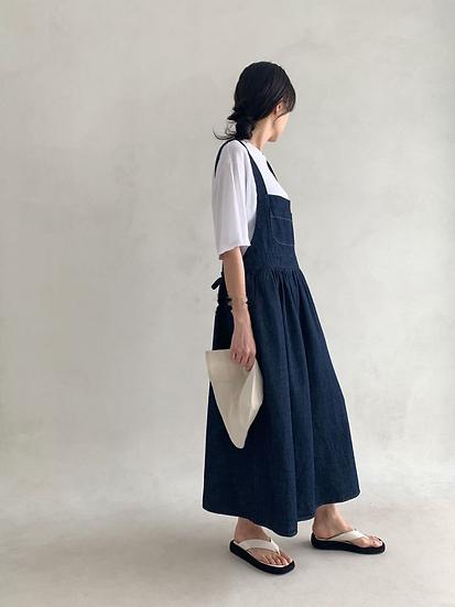 日系圍裙式連身洋裝