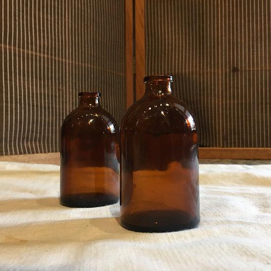 台灣早期 琥珀色玻璃瓶(小)