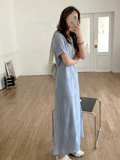 微光絲滑可綁帶長洋裝