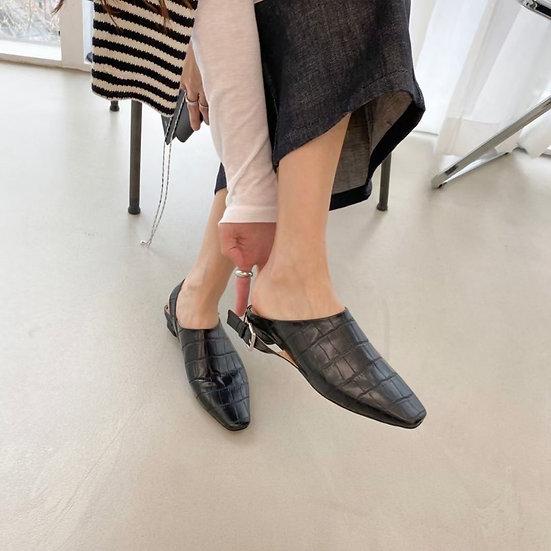 黑皮革紋路 後扣涼鞋