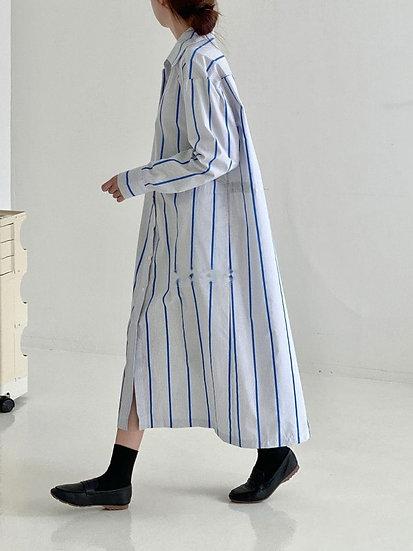 直紋襯衫式洋裝