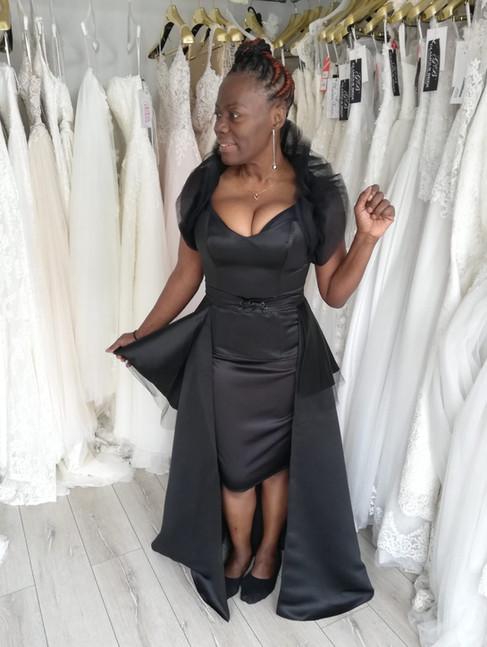 Dorrett in her 4 piece custom garment set