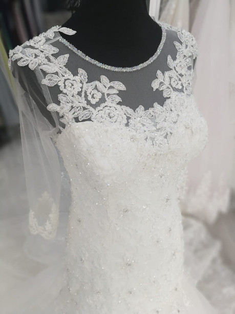 Wedding Dress with Sleeves, Beads and Lace added