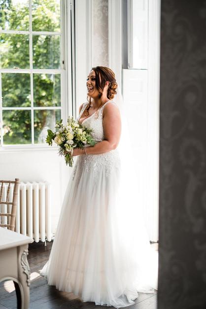 Bride wearing A-line wedding dress
