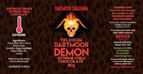Dartmoor Demon Extreme Chilli Chocolate, 72% cocoa,, 80g