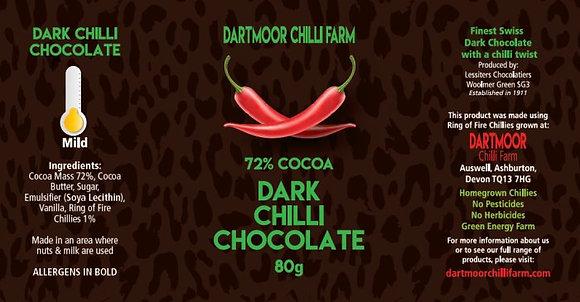 Dark Chilli Chocolate, 72% cocoa, 80g bar