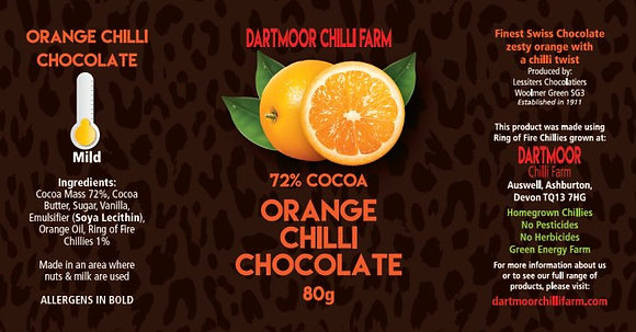 Orange Chilli Chocolate, 72% cocoa, 80g bar