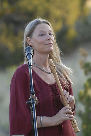 Johanna at concert with wooden flute