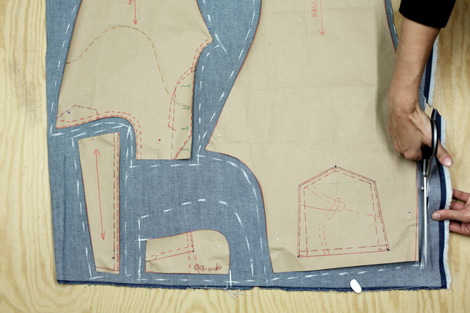 Cutting the pattern from selected denim