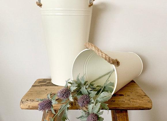 30cm Cream Flower Bucket