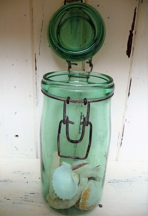 This Vintage Green Glass U0027Lu0027Idealeu0027 Storage Jar Has Come Across The Water  From France. I Find These Jars Perfect Displaying My Seaside Treasures    Shells, ...