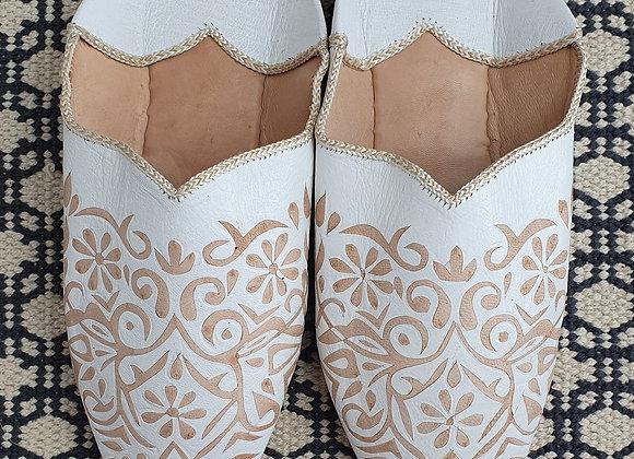 Moroccan Decorative Babouche Slippers - White - UK 7